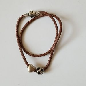 Pandora Brown Leather Wrap Bracelet with 2 Charms